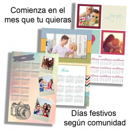 Calendario pared 1 hoja 12 meses