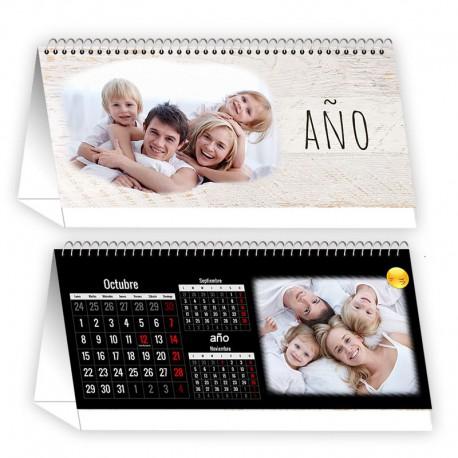 Calendario mesa horizontal negro12 meses + portada
